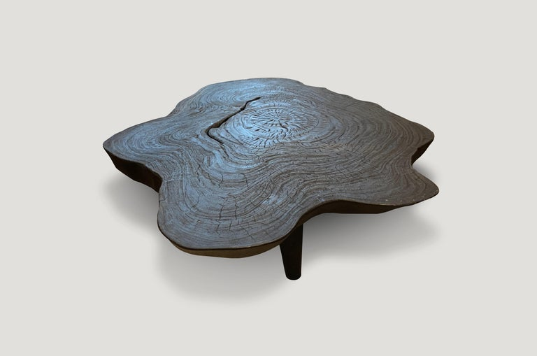 Andrianna Shamaris Amorphous Charred Teak Wood Coffee Table In Excellent Condition For Sale In New York, NY