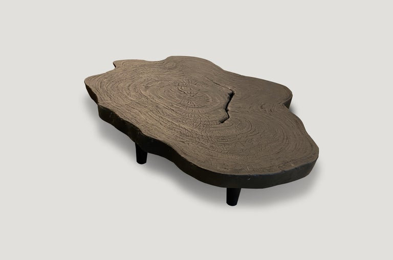 Contemporary Andrianna Shamaris Amorphous Charred Teak Wood Coffee Table For Sale