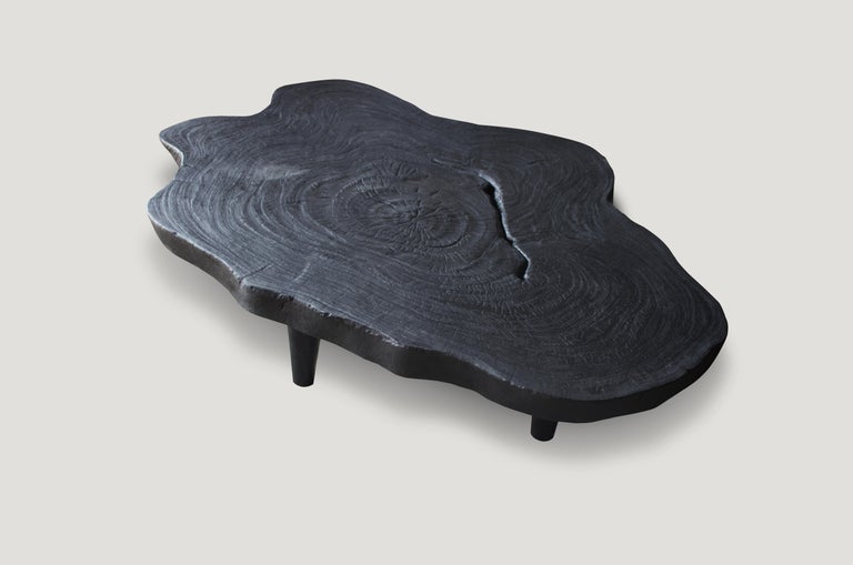 Andrianna Shamaris Amorphous Charred Teak Wood Coffee Table For Sale 1