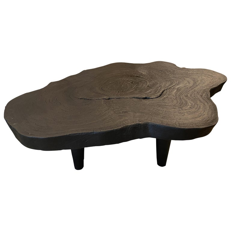 Andrianna Shamaris Amorphous Charred Teak Wood Coffee Table For Sale