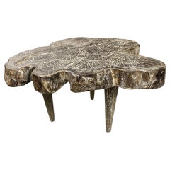 Andrianna Shamaris Amorphous Three Leg Cerused Teak Wood Side Table