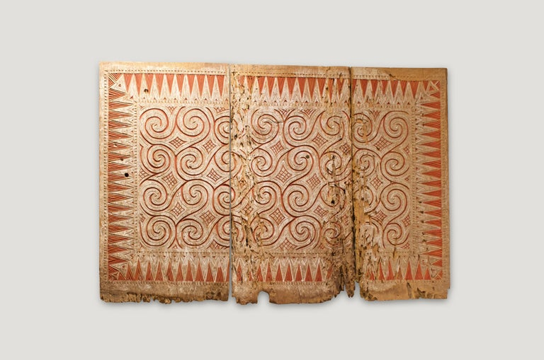 Primitive Andrianna Shamaris Ancient Hand Carved Panel Symbolizing Peace and Happiness