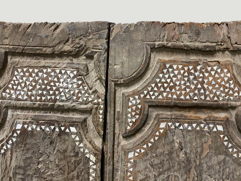 Primitive Andrianna Shamaris Ancient Teak Wood Temple Door with Shell Inlay For Sale