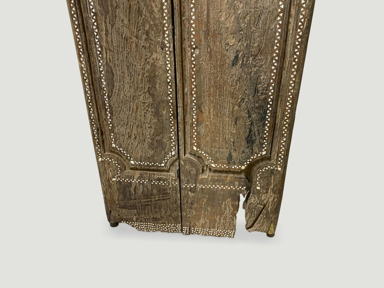 Andrianna Shamaris Ancient Teak Wood Temple Door with Shell Inlay In Good Condition For Sale In New York, NY