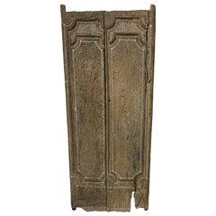 Andrianna Shamaris Ancient Teak Wood Temple Door with Shell Inlay
