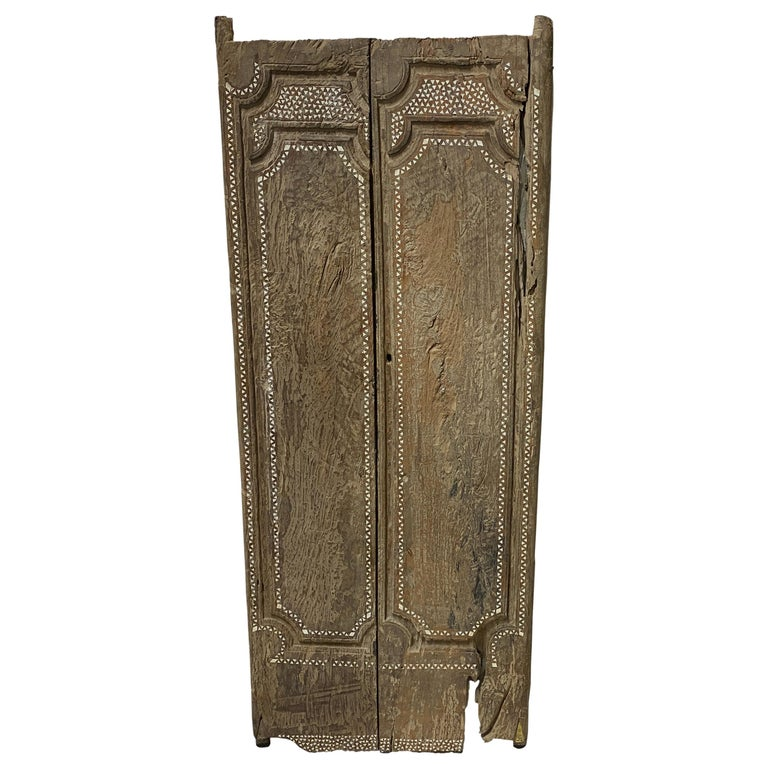 Andrianna Shamaris Ancient Teak Wood Temple Door with Shell Inlay For Sale