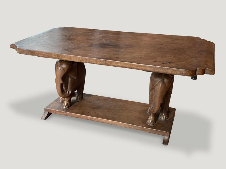 Andrianna Shamaris Antique African Elephant Base Coffee Table In Excellent Condition For Sale In New York, NY