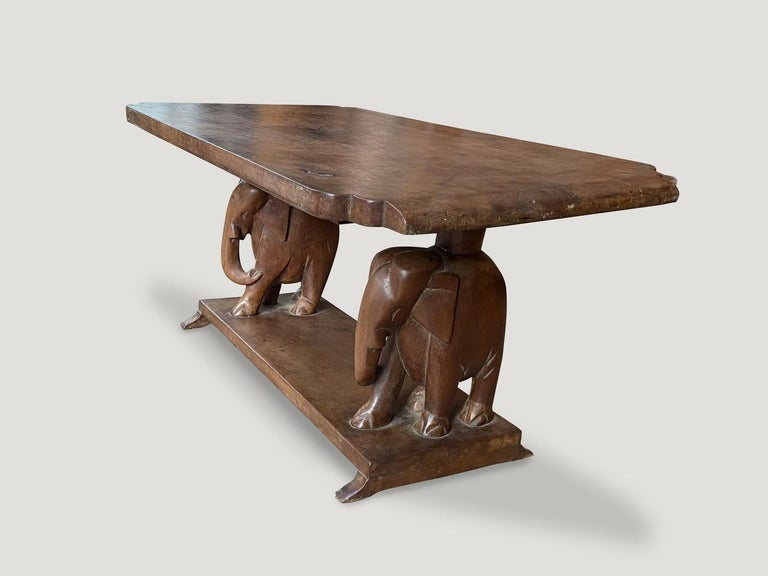 Late 20th Century Andrianna Shamaris Antique African Elephant Base Coffee Table For Sale