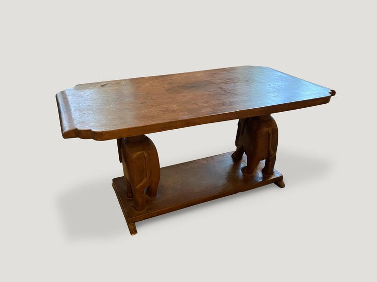 Andrianna Shamaris Antique African Elephant Base Coffee Table For Sale 1