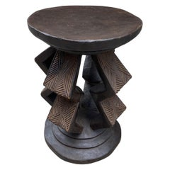 Andrianna Shamaris Antique African Mahogany Wood Side Table or Pedestal