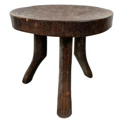 Andrianna Shamaris Antique African Mahogany Wood Stool or Side Table