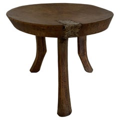 Antique African Sculptural Mahogany Wood Side Table