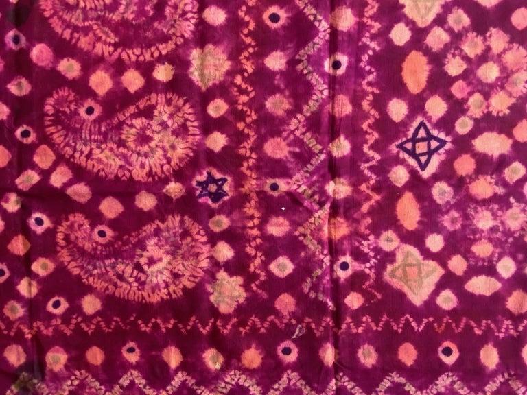 Andrianna Shamaris Antique Burnt Orange and Purple Silk Textile For Sale 3