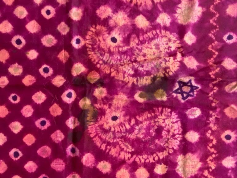 Andrianna Shamaris Antique Burnt Orange and Purple Silk Textile For Sale 4