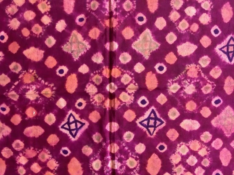 Andrianna Shamaris Antique Burnt Orange and Purple Silk Textile For Sale 5