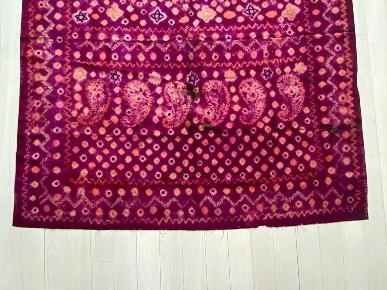 Tribal Andrianna Shamaris Antique Burnt Orange and Purple Silk Textile For Sale