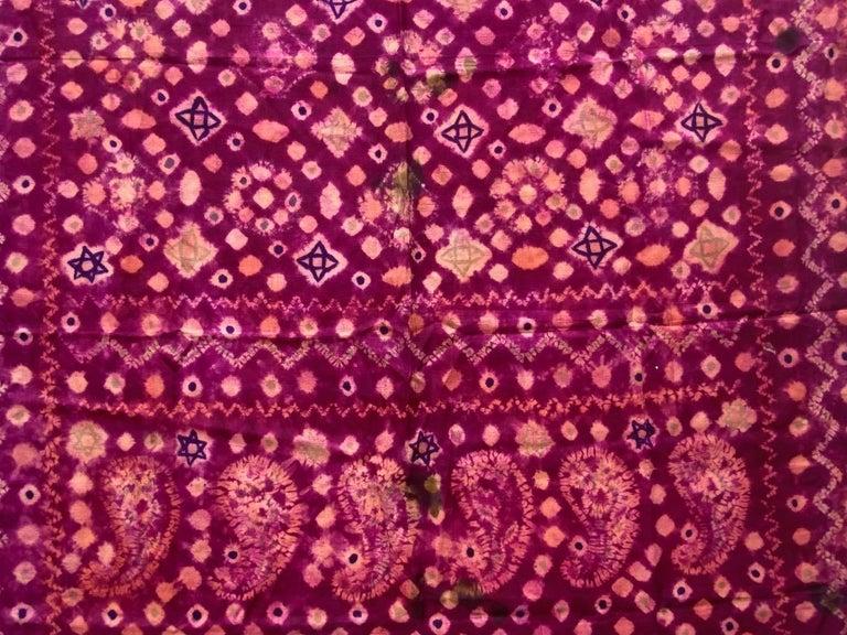 Indonesian Andrianna Shamaris Antique Burnt Orange and Purple Silk Textile For Sale