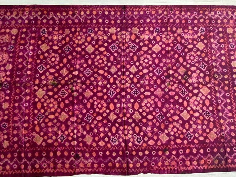 Hand-Crafted Andrianna Shamaris Antique Burnt Orange and Purple Silk Textile For Sale