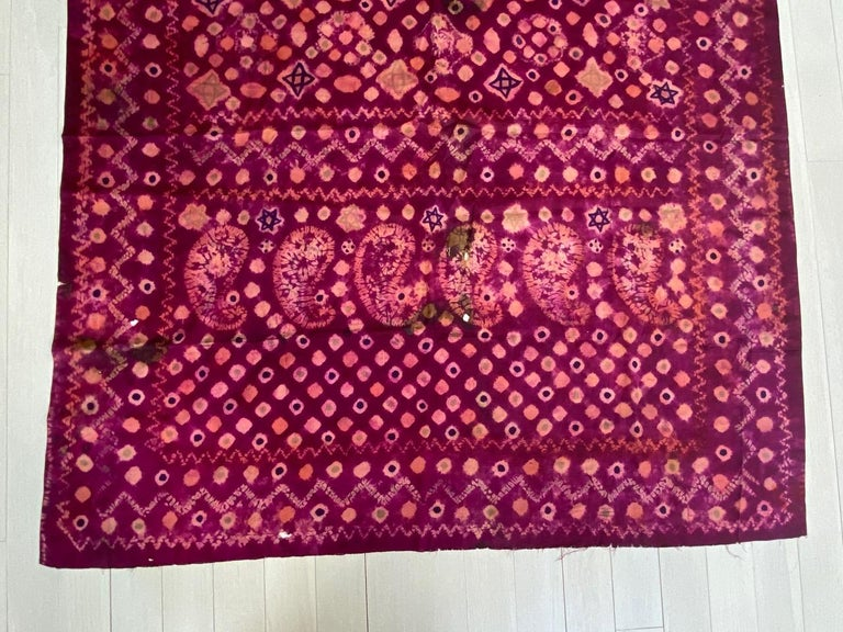 Andrianna Shamaris Antique Burnt Orange and Purple Silk Textile In Fair Condition For Sale In New York, NY