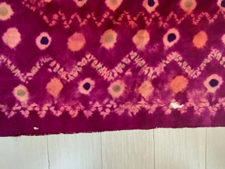 Andrianna Shamaris Antique Burnt Orange and Purple Silk Textile For Sale 2