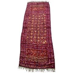 Antique Burnt Orange and Purple Silk Textile