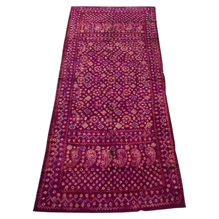 Andrianna Shamaris Antique Burnt Orange and Purple Silk Textile For Sale