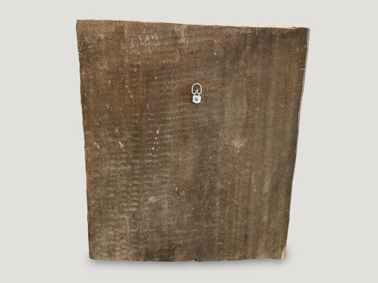 Primitive Andrianna Shamaris Antique Hand Carved Wooden Panel For Sale