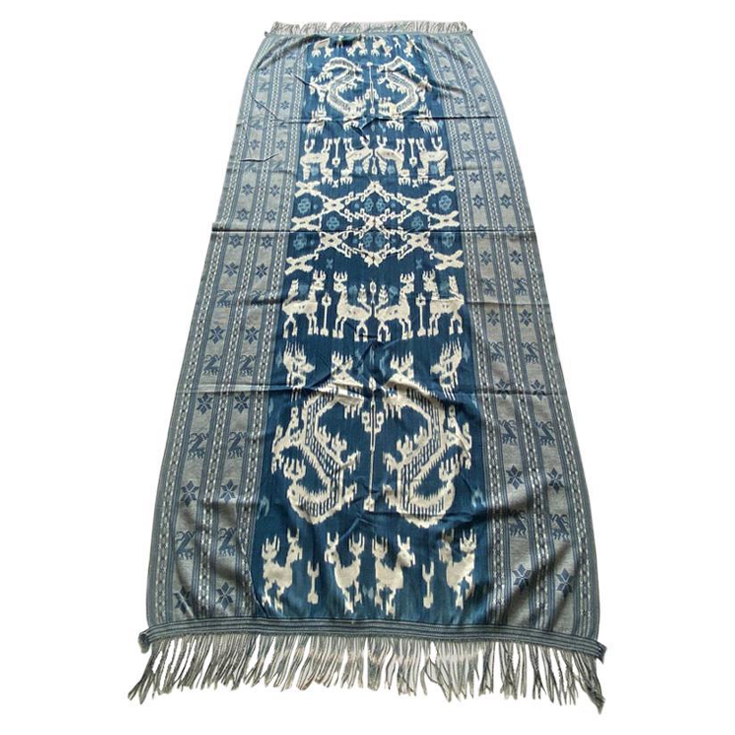 Andrianna Shamaris Antique Indigo Hand Woven Cotton Large Ikat