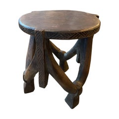 Andrianna Shamaris Antique Mahogany Wood African Sculptural Side Table or Stool