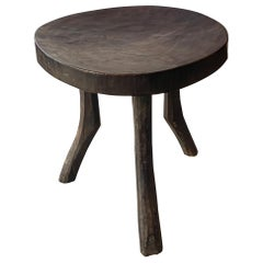 Andrianna Shamaris Antique Mahogany Wood African Stool or Side Table