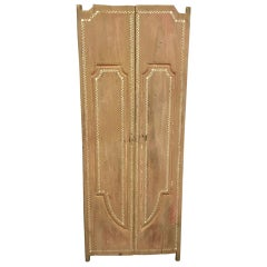Andrianna Shamaris Antique Teak Wood Temple Door with Shell Inlay