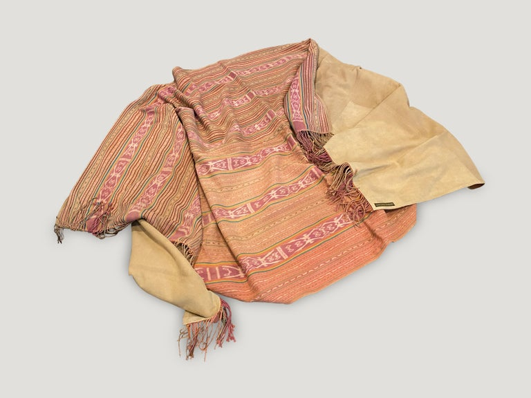Primitive Andrianna Shamaris Antique Textile Backed in Suede For Sale