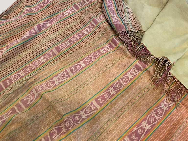 Andrianna Shamaris Antique Textile Backed in Suede In Excellent Condition For Sale In New York, NY