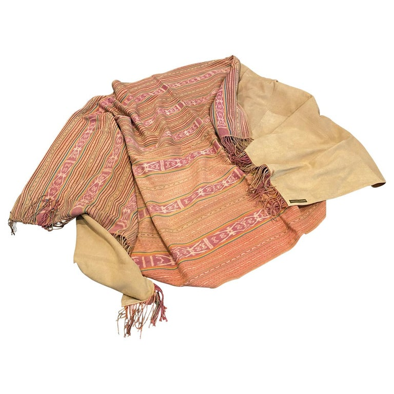 Andrianna Shamaris Antique Textile Backed in Suede For Sale