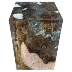 Andrianna Shamaris Aqua Cracked Resin and Polished Teak Wood Side Table
