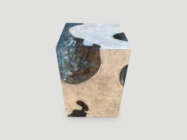 Organic Modern Andrianna Shamaris Aqua Resin and Teak Wood Side Table For Sale