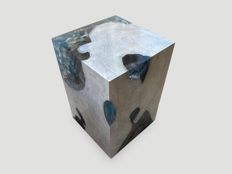 Andrianna Shamaris Aqua Resin and Teak Wood Side Table In Excellent Condition For Sale In New York, NY