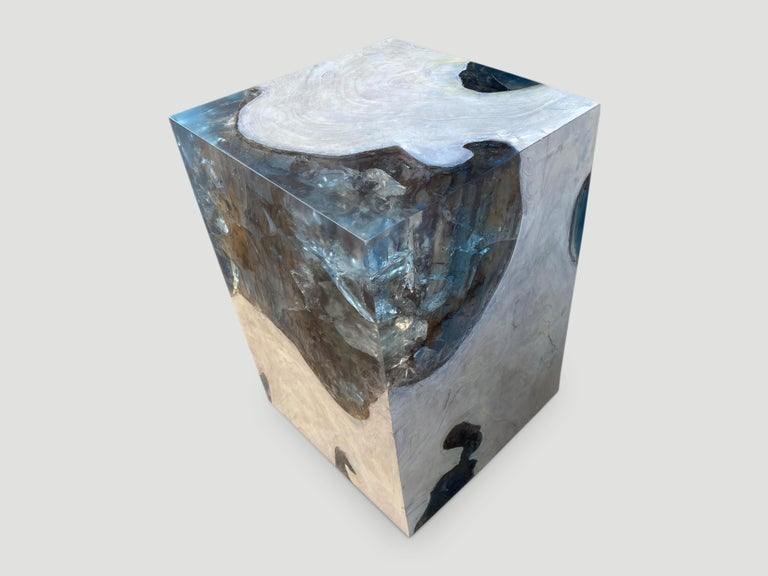 Contemporary Andrianna Shamaris Aqua Resin and Teak Wood Side Table For Sale