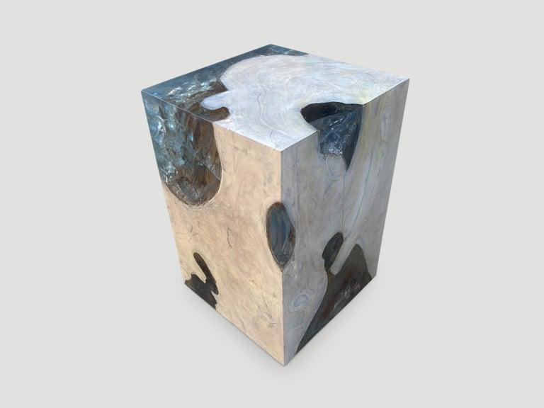 Reclaimed Wood Andrianna Shamaris Aqua Resin and Teak Wood Side Table For Sale