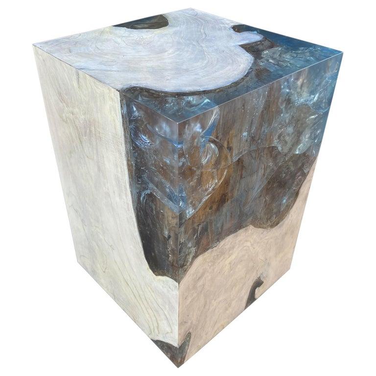 Andrianna Shamaris Aqua Resin and Teak Wood Side Table For Sale