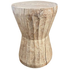 Andrianna Shamaris Bevelled Teak Wood Side Table or Stool