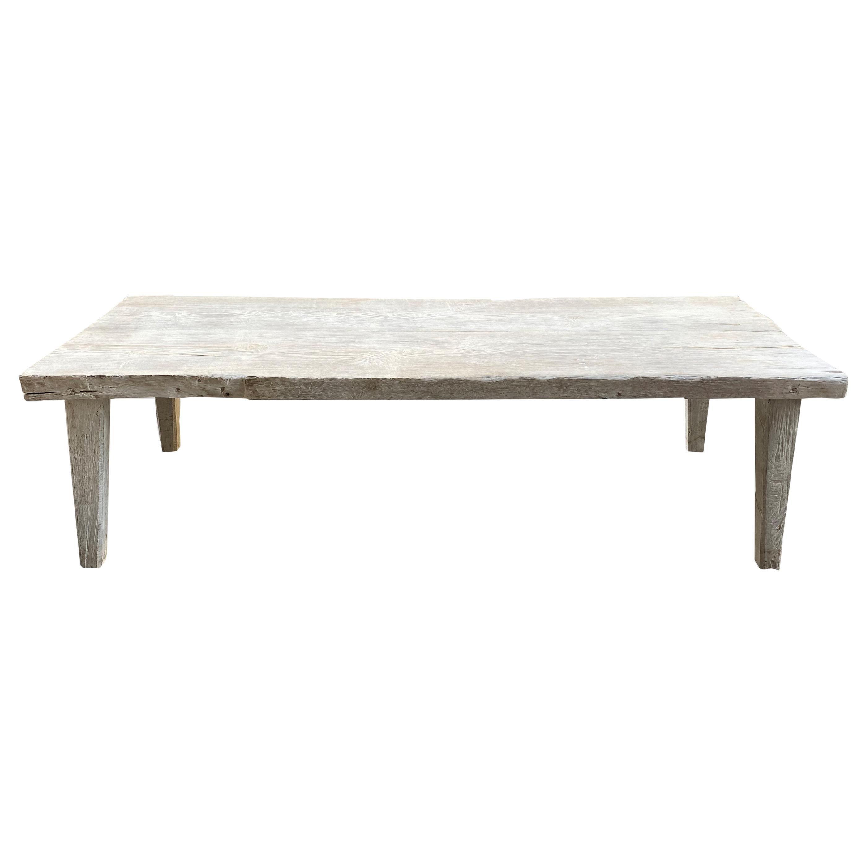 Andrianna Shamaris Bleached Teak Wood Bench or Coffee Table