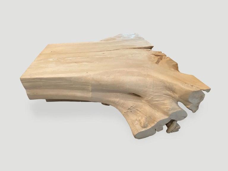 Organic Modern Andrianna Shamaris Bleached Teak Wood Coffee Table For Sale