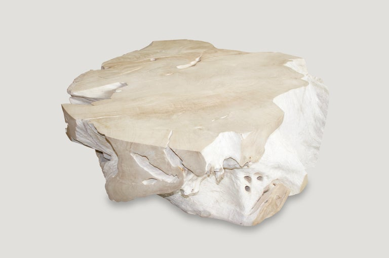Andrianna Shamaris Bleached Teak Wood Coffee Table In New Condition For Sale In New York, NY