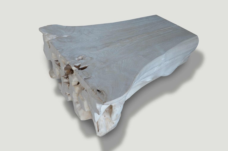 Andrianna Shamaris Bleached Teak Wood Coffee Table In Excellent Condition For Sale In New York, NY