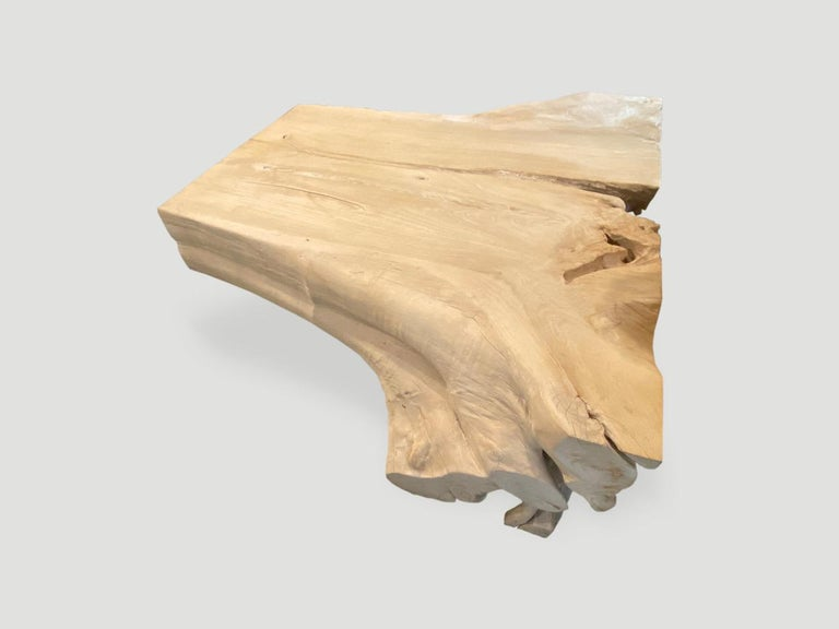 Contemporary Andrianna Shamaris Bleached Teak Wood Coffee Table For Sale