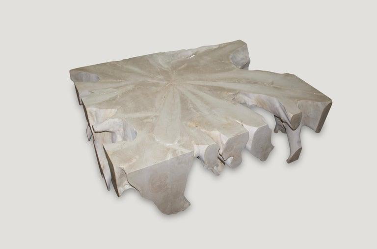 Andrianna Shamaris Bleached Teak Wood Coffee Table For Sale 1