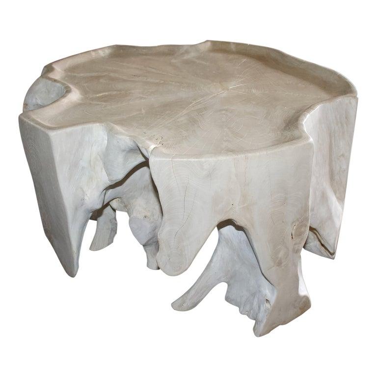 Andrianna Shamaris Bleached Teak Wood Coffee Table For Sale
