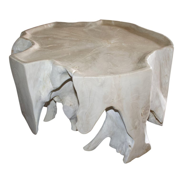 Andrianna Shamaris Bleached Teak Wood Coffee Table For Sale