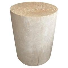 Andrianna Shamaris Bleached Teak Wood Cylinder Side Table or Stool